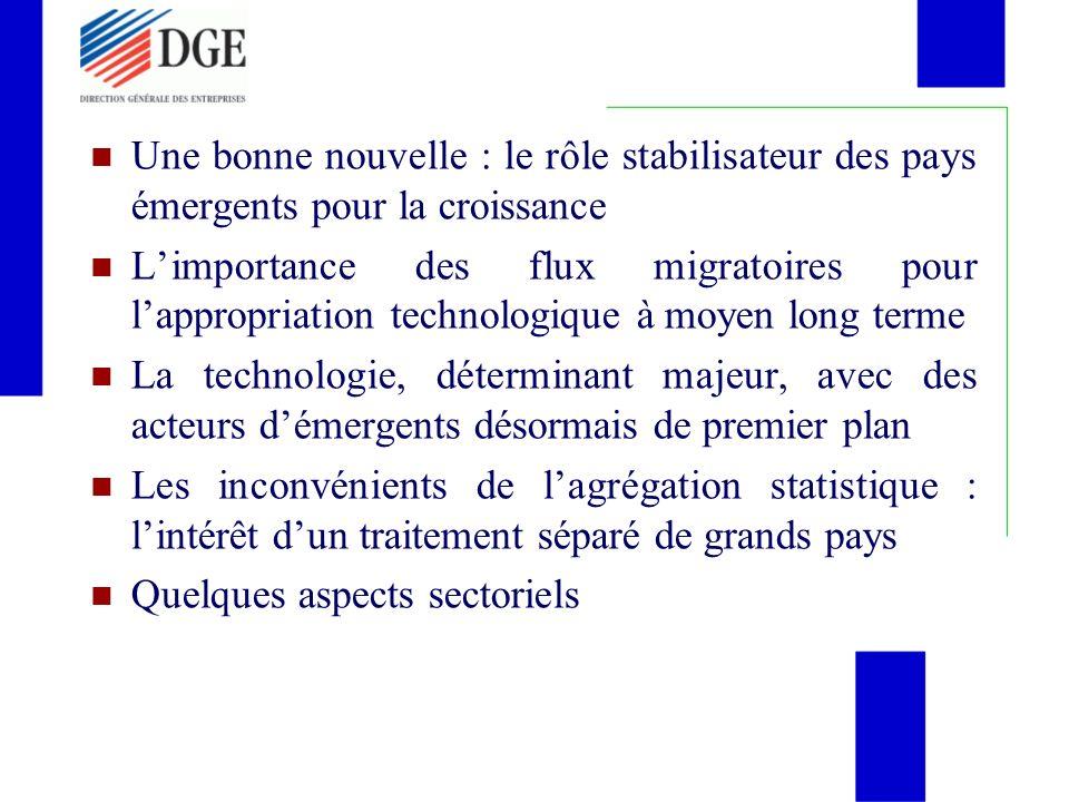 I - Une bonne nouvelle : la croissance mondiale toujours tirée par les pays émergents avec un rôle stabilisateur (rapport BM du 8.1.2008)
