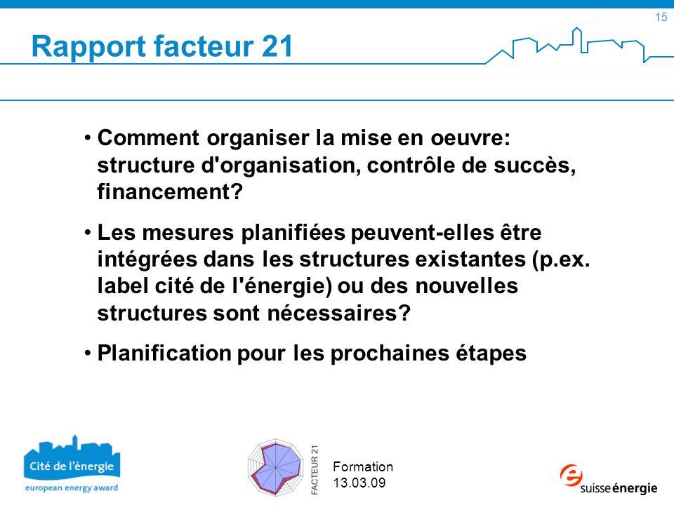 SuisseEnergie pour les communes 15 Formation 13.03.09 Rapport facteur 21 Comment organiser la mise en oeuvre: structure d organisation, contrôle de succès, financement.