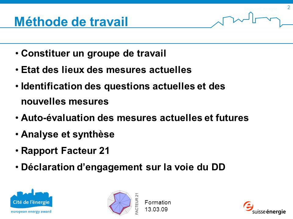 SuisseEnergie pour les communes 2 Formation 13.03.09 Constituer un groupe de travail Etat des lieux des mesures actuelles Identification des questions