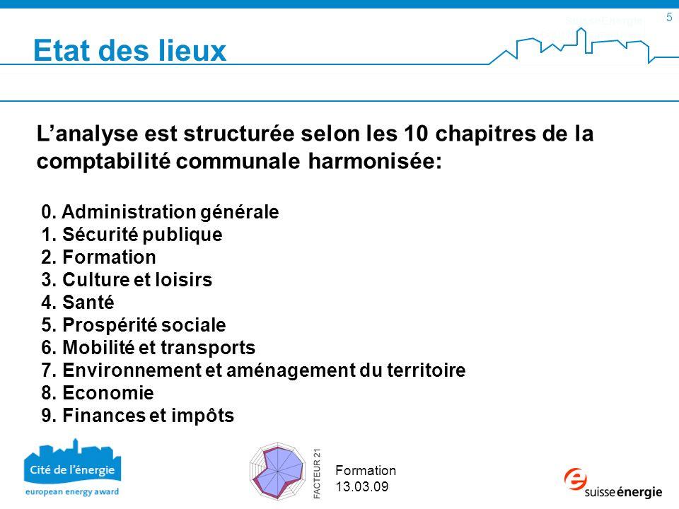 SuisseEnergie pour les communes 5 Formation 13.03.09 Lanalyse est structurée selon les 10 chapitres de la comptabilité communale harmonisée: 0. Admini