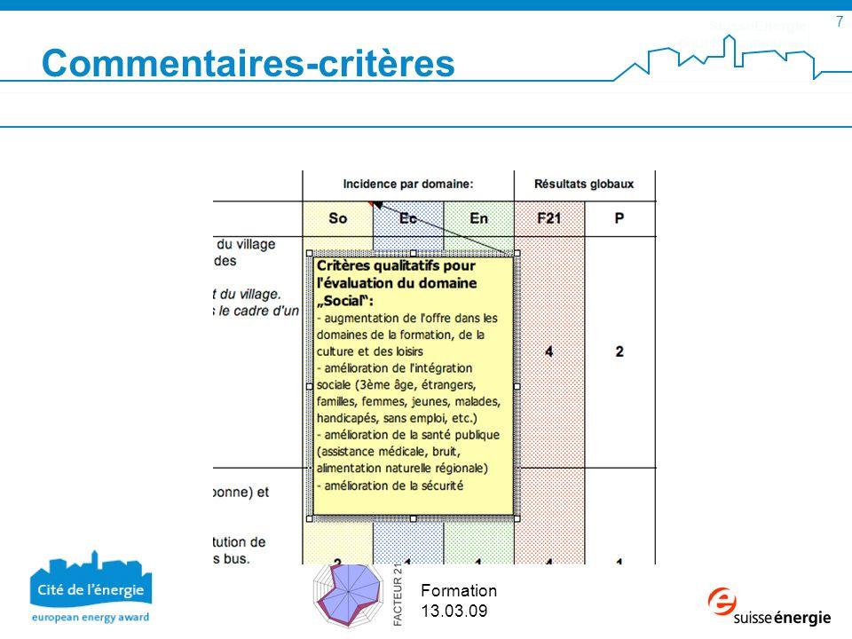 SuisseEnergie pour les communes 7 Formation 13.03.09 Commentaires-critères