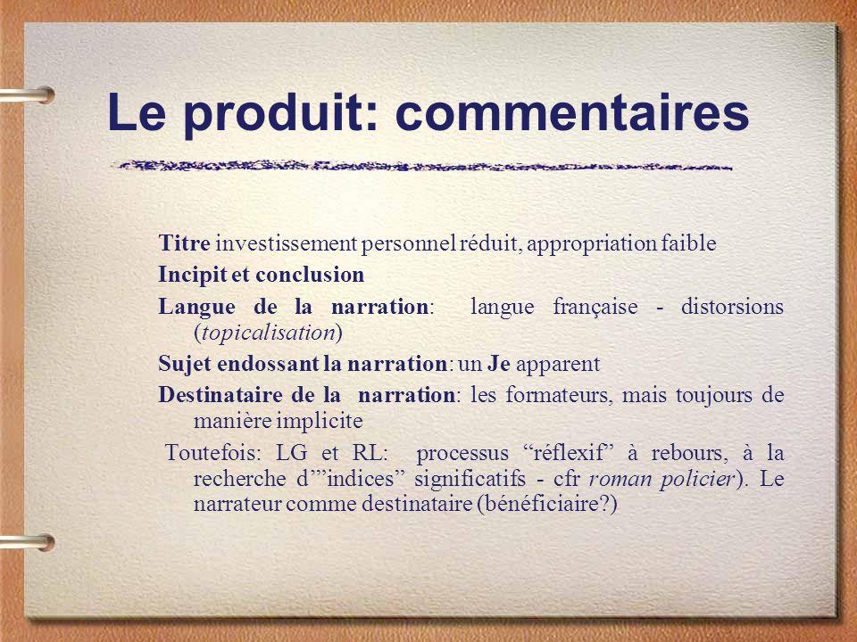 Le produit: commentaires Titre investissement personnel réduit, appropriation faible Incipit et conclusion Langue de la narration: langue française -