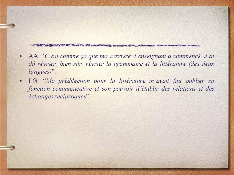 AA: Cest comme ça que ma carrière denseignant a commencé. Jai dû réviser, bien sûr, réviser la grammaire et la littérature (des deux langues). LG: Ma