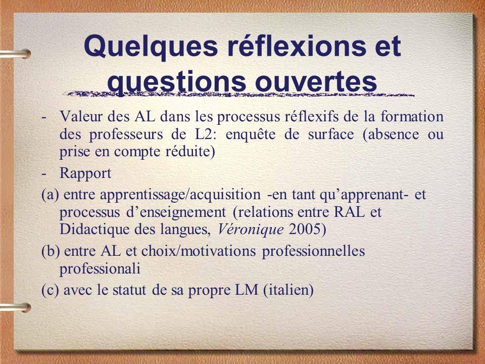 Quelques réflexions et questions ouvertes -Valeur des AL dans les processus réflexifs de la formation des professeurs de L2: enquête de surface (absen