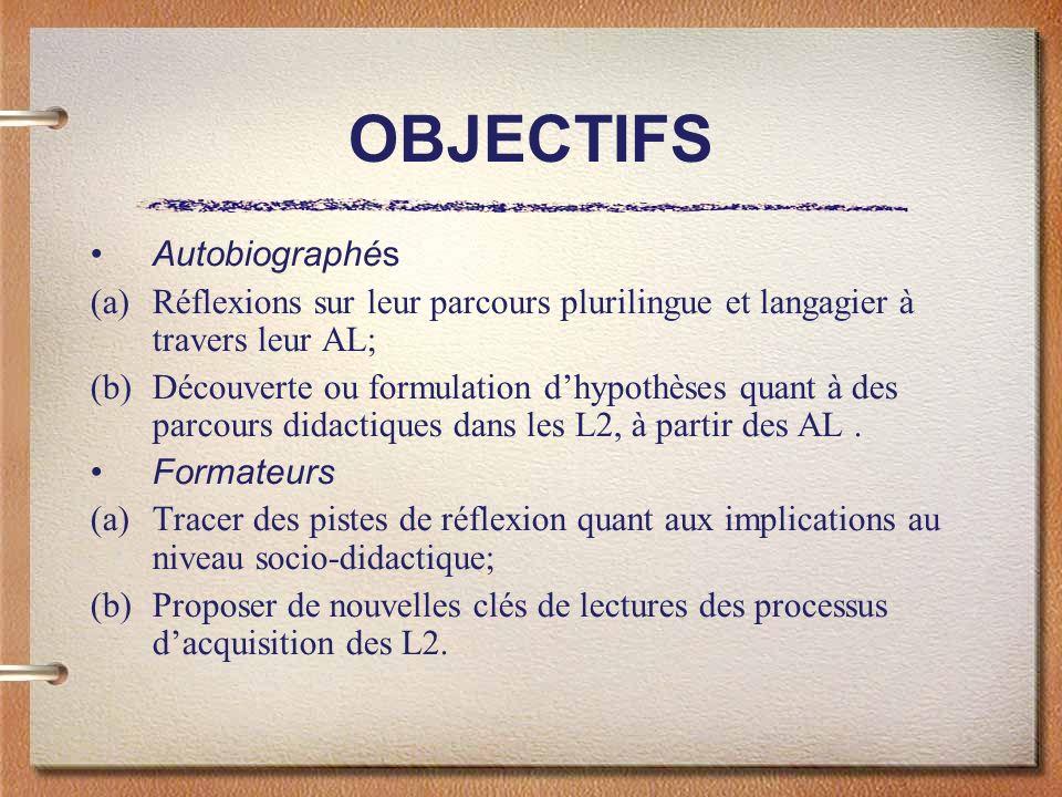 OBJECTIFS Autobiographés (a)Réflexions sur leur parcours plurilingue et langagier à travers leur AL; (b)Découverte ou formulation dhypothèses quant à