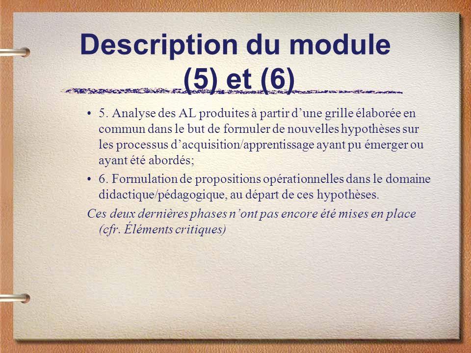Description du module (5) et (6) 5. Analyse des AL produites à partir dune grille élaborée en commun dans le but de formuler de nouvelles hypothèses s