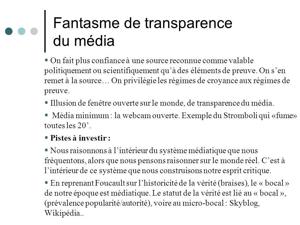 Fantasme de transparence du média On fait plus confiance à une source reconnue comme valable politiquement ou scientifiquement quà des éléments de preuve.