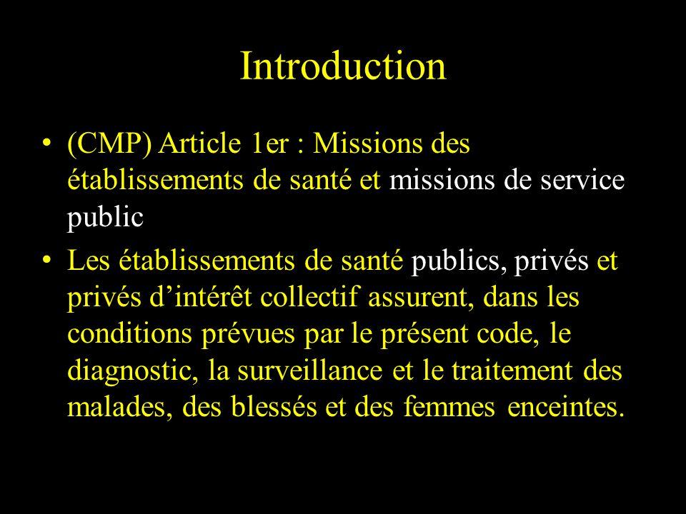 Introduction (CMP) Article 1er : Missions des établissements de santé et missions de service public Les établissements de santé publics, privés et pri