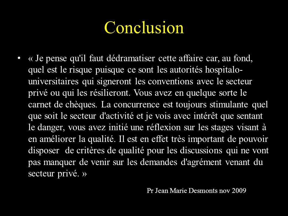 Conclusion « Je pense qu'il faut dédramatiser cette affaire car, au fond, quel est le risque puisque ce sont les autorités hospitalo- universitaires q
