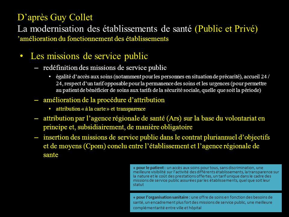 Daprès Guy Collet La modernisation des établissements de santé (Public et Privé) amélioration du fonctionnement des établissements Les missions de ser