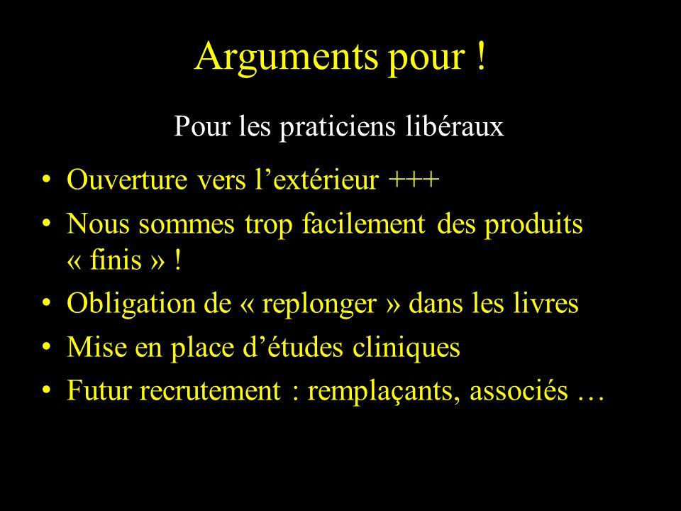 Arguments pour ! Pour les praticiens libéraux Ouverture vers lextérieur +++ Nous sommes trop facilement des produits « finis » ! Obligation de « replo