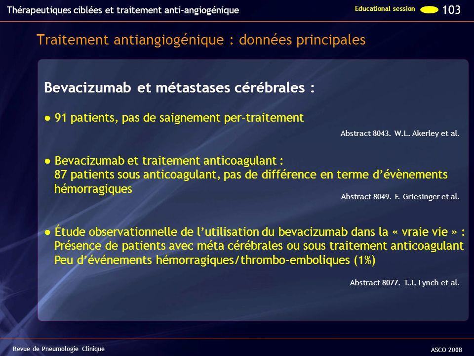 Revue de Pneumologie Clinique Bevacizumab et métastases cérébrales : 91 patients, pas de saignement per-traitement Bevacizumab et traitement anticoagu