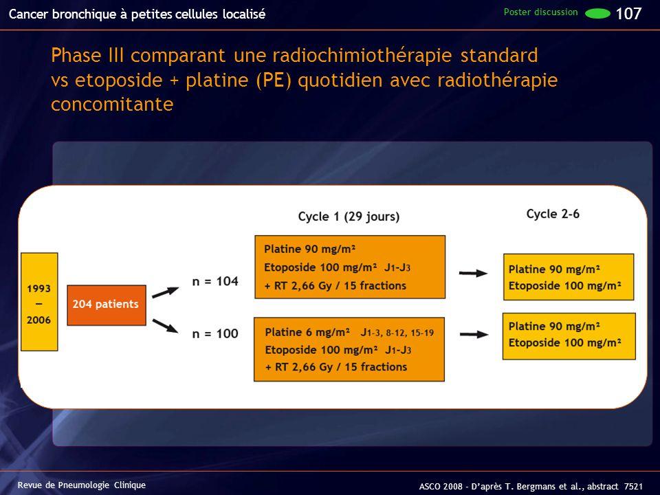 Revue de Pneumologie Clinique ASCO 2008 - Daprès T. Bergmans et al., abstract 7521 Cancer bronchique à petites cellules localisé Phase III comparant u