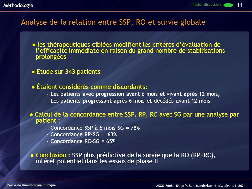 Analyse de la relation entre SSP, RO et survie globale les thérapeutiques ciblées modifient les critères dévaluation de lefficacité immédiate en raiso