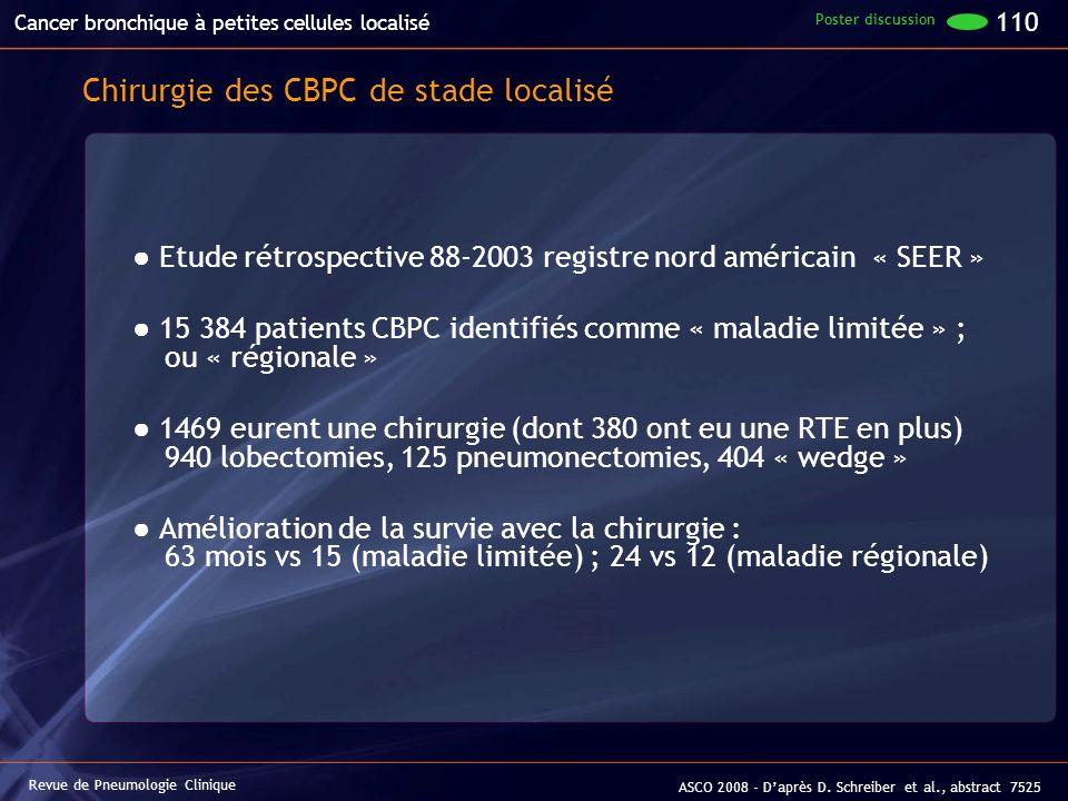 Chirurgie des CBPC de stade localisé Etude rétrospective 88-2003 registre nord américain « SEER » 15 384 patients CBPC identifiés comme « maladie limi