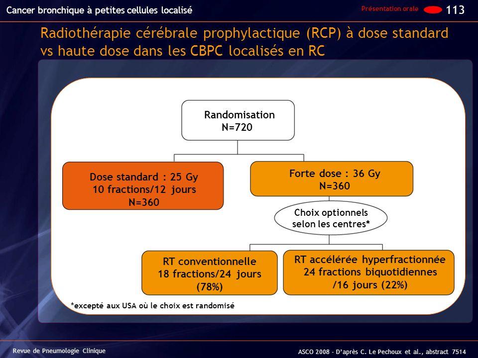 Radiothérapie cérébrale prophylactique (RCP) à dose standard vs haute dose dans les CBPC localisés en RC Revue de Pneumologie Clinique Cancer bronchiq