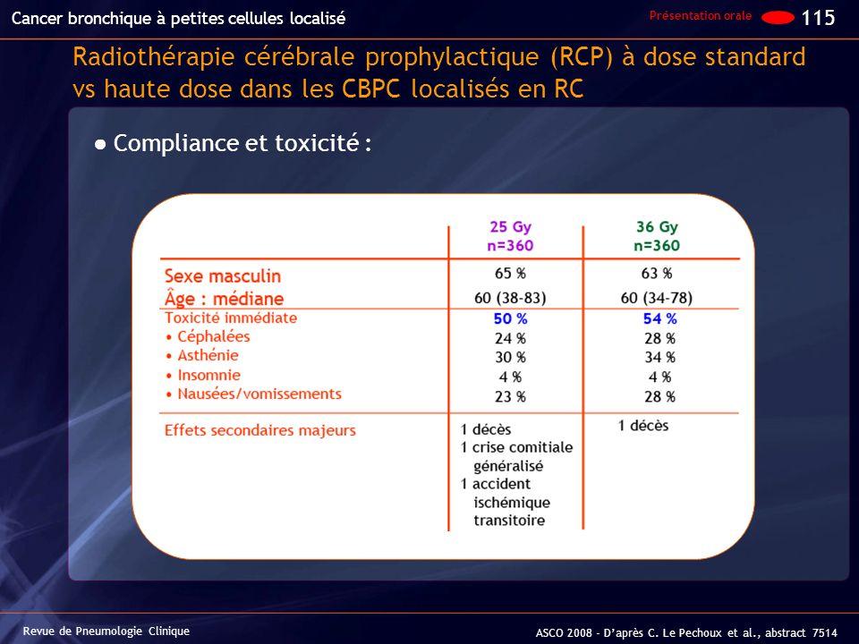 Radiothérapie cérébrale prophylactique (RCP) à dose standard vs haute dose dans les CBPC localisés en RC Compliance et toxicité : Revue de Pneumologie