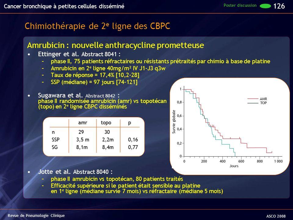 Amrubicin : nouvelle anthracycline prometteuse Ettinger et al. Abstract 8041 : –phase II, 75 patients réfractaires ou résistants prétraités par chimio