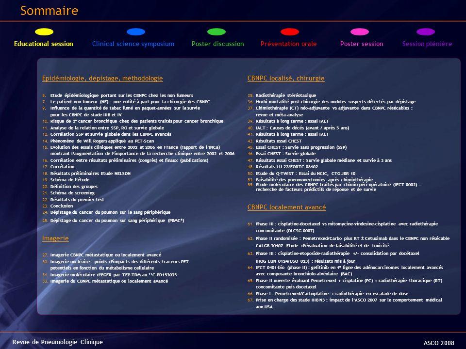 Epidémiologie, dépistage, méthodologie 5. Etude épidémiologique portant sur les CBNPC chez les non fumeurs 7. Le patient non fumeur (NF) : une entité