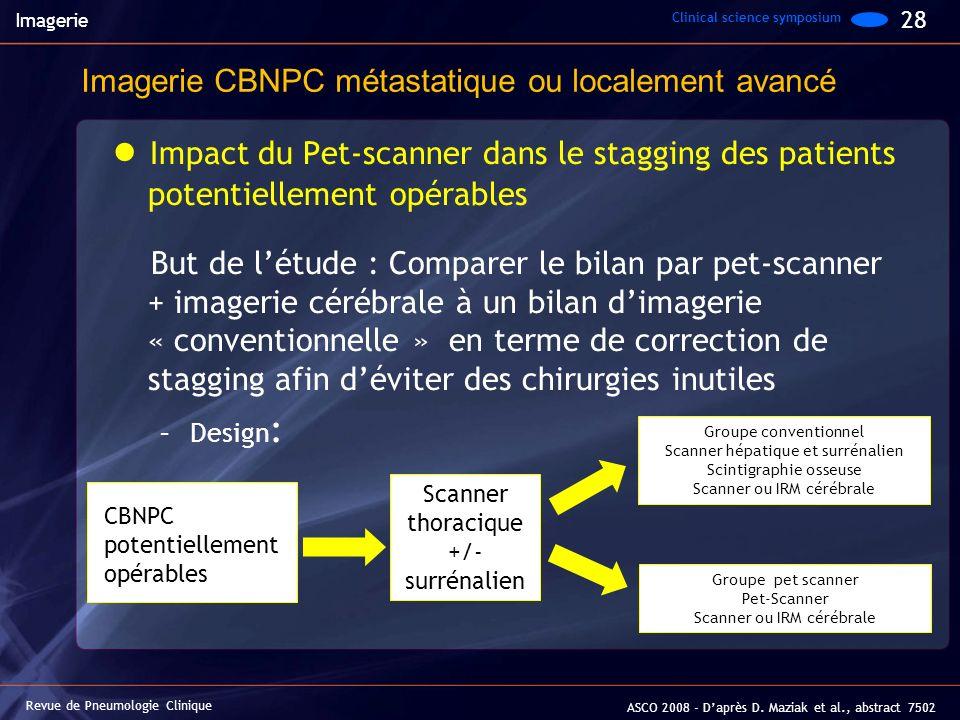 Impact du Pet-scanner dans le stagging des patients potentiellement opérables But de létude : Comparer le bilan par pet-scanner + imagerie cérébrale à
