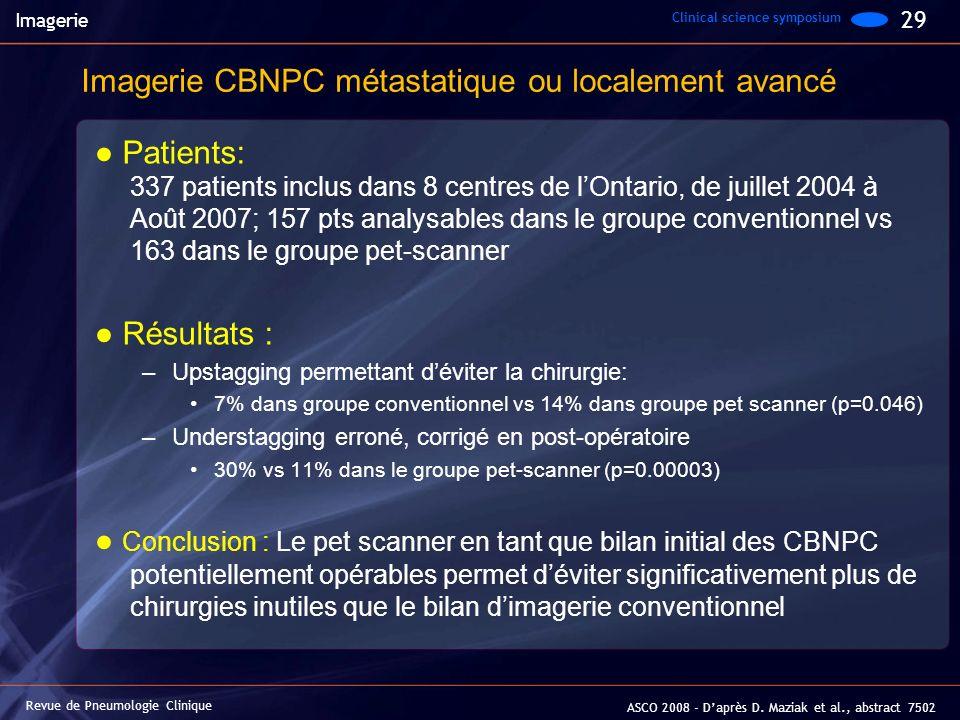 Patients: 337 patients inclus dans 8 centres de lOntario, de juillet 2004 à Août 2007; 157 pts analysables dans le groupe conventionnel vs 163 dans le