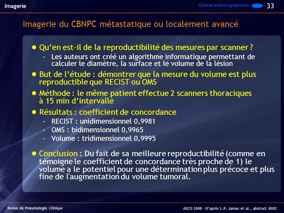 Imagerie du CBNPC métastatique ou localement avancé Quen est-il de la reproductibilité des mesures par scanner ? –Les auteurs ont créé un algorithme i