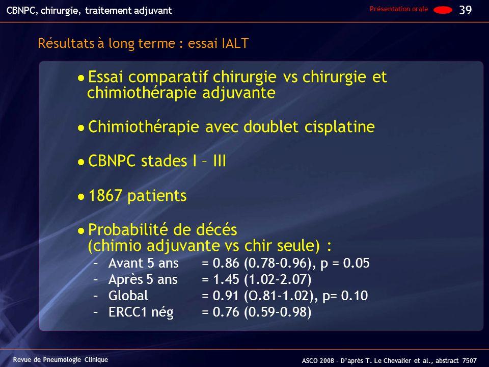 Résultats à long terme : essai IALT Essai comparatif chirurgie vs chirurgie et chimiothérapie adjuvante Chimiothérapie avec doublet cisplatine CBNPC s