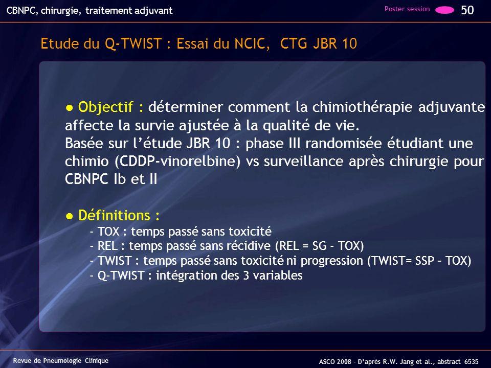 Revue de Pneumologie Clinique 50 ASCO 2008 - Daprès R.W. Jang et al., abstract 6535 CBNPC, chirurgie, traitement adjuvant Etude du Q-TWIST : Essai du
