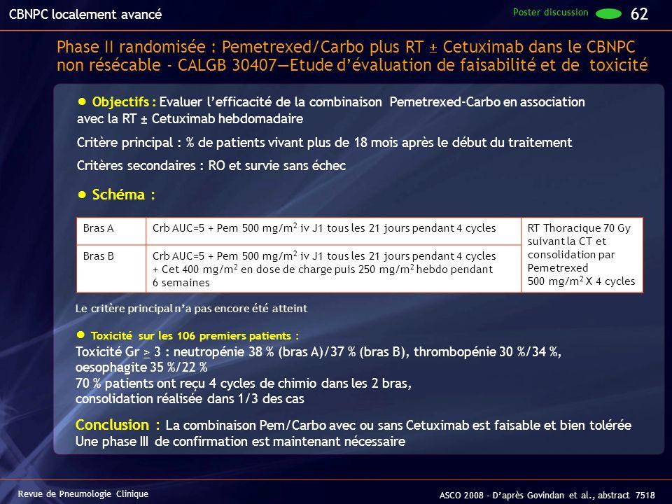 Objectifs : Evaluer lefficacité de la combinaison Pemetrexed-Carbo en association avec la RT ± Cetuximab hebdomadaire Critère principal : % de patient
