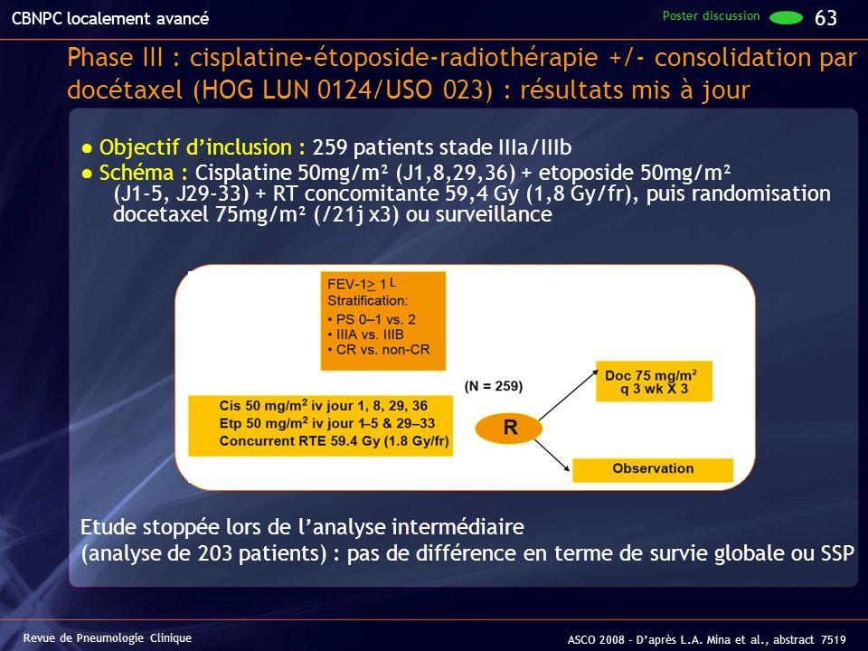 Objectif dinclusion : 259 patients stade IIIa/IIIb Schéma : Cisplatine 50mg/m² (J1,8,29,36) + etoposide 50mg/m² (J1-5, J29-33) + RT concomitante 59,4