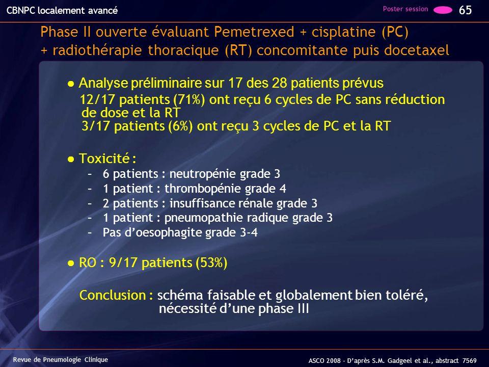 Phase II ouverte évaluant Pemetrexed + cisplatine (PC) + radiothérapie thoracique (RT) concomitante puis docetaxel Analyse préliminaire sur 17 des 28