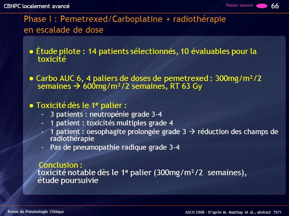 Phase I : Pemetrexed/Carboplatine + radiothérapie en escalade de dose Étude pilote : 14 patients sélectionnés, 10 évaluables pour la toxicité Carbo AU