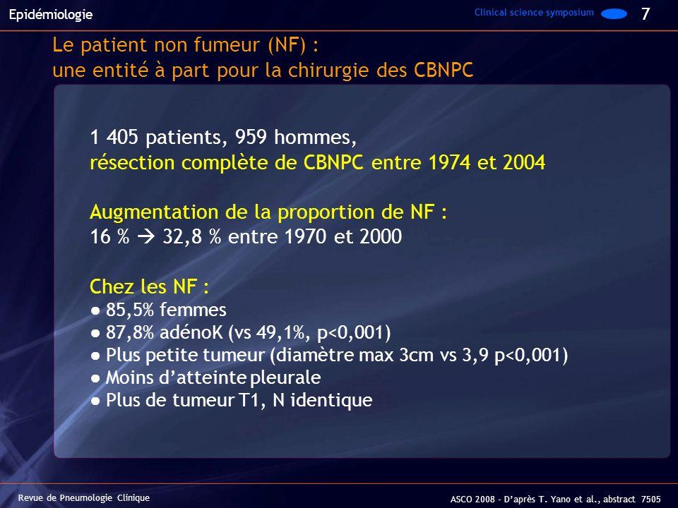 Revue de Pneumologie Clinique ASCO 2008 - Daprès T. Yano et al., abstract 7505 Le patient non fumeur (NF) : une entité à part pour la chirurgie des CB