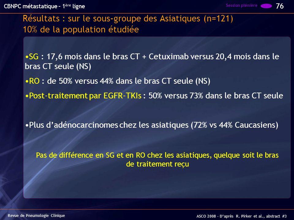 Résultats : sur le sous-groupe des Asiatiques (n=121) 10% de la population étudiée SG : 17,6 mois dans le bras CT + Cetuximab versus 20,4 mois dans le