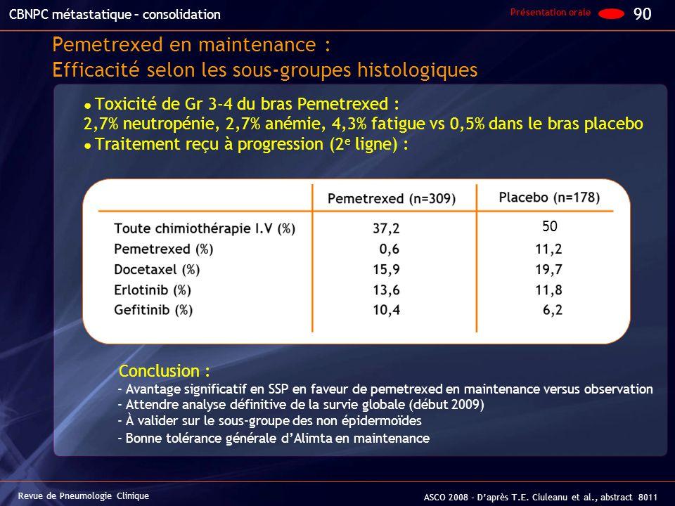 Pemetrexed en maintenance : Efficacité selon les sous-groupes histologiques Toxicité de Gr 3-4 du bras Pemetrexed : 2,7% neutropénie, 2,7% anémie, 4,3