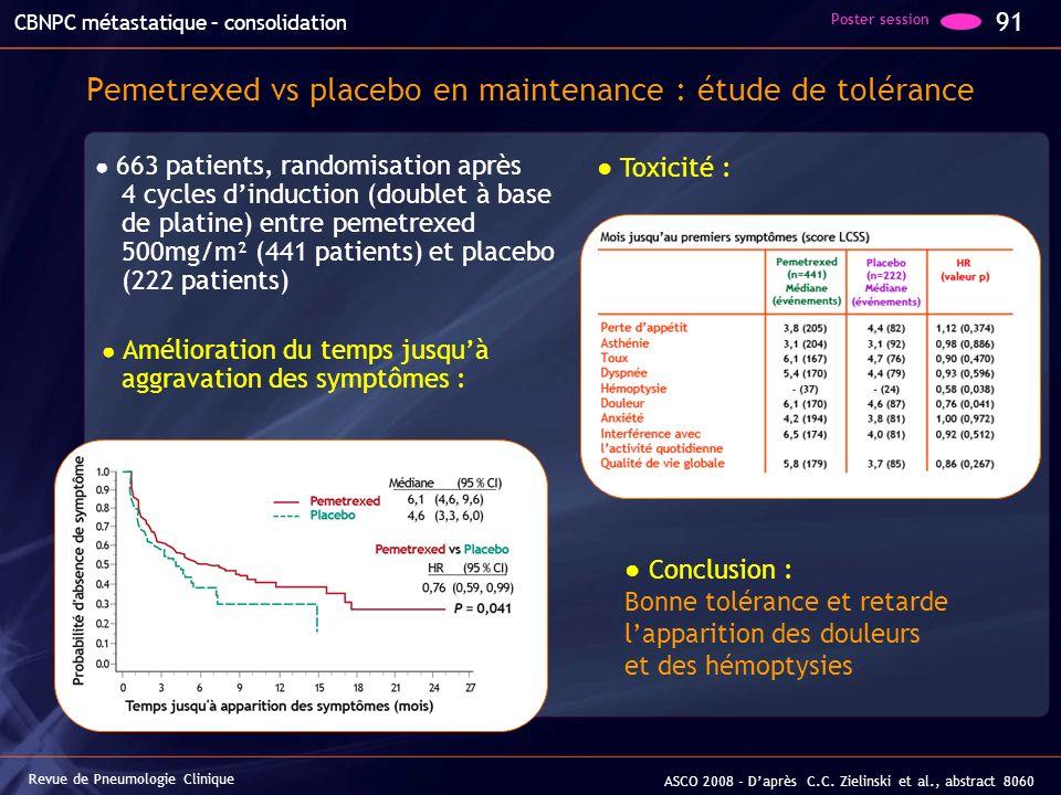 Pemetrexed vs placebo en maintenance : étude de tolérance 663 patients, randomisation après 4 cycles dinduction (doublet à base de platine) entre peme