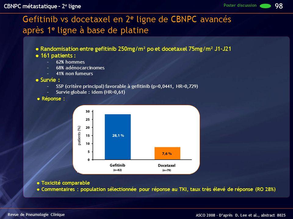 Gefitinib vs docetaxel en 2 e ligne de CBNPC avancés après 1 e ligne à base de platine Randomisation entre gefitinib 250mg/m² po et docetaxel 75mg/m²