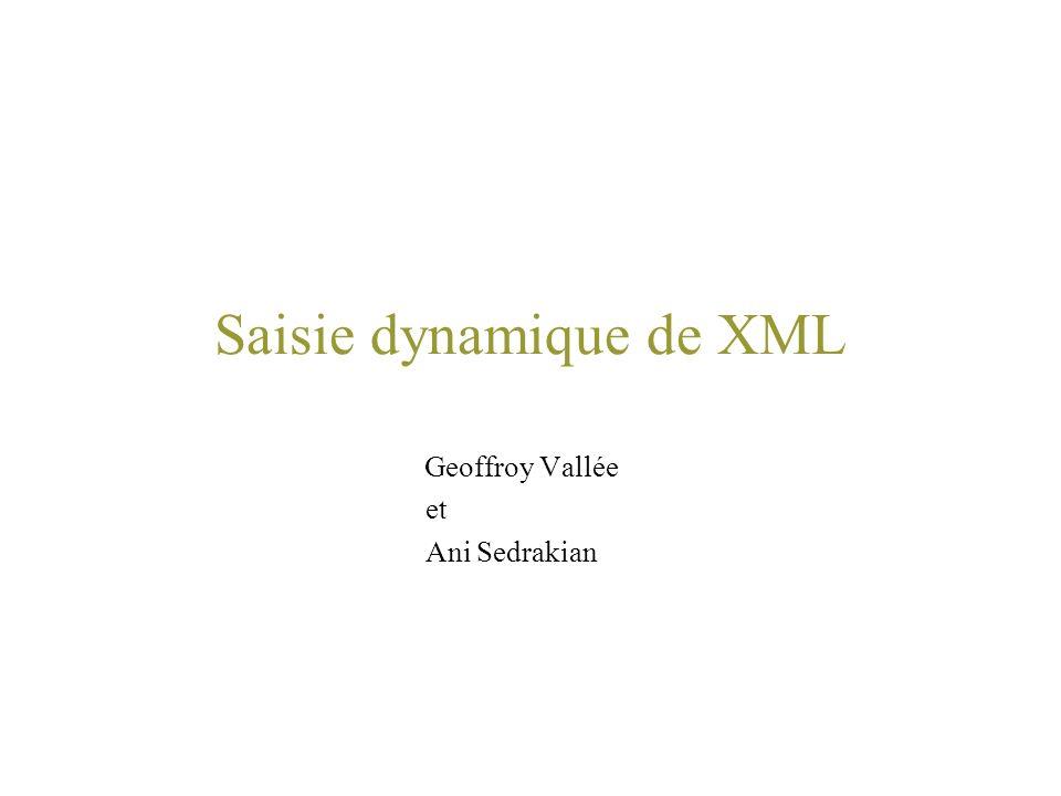 Saisie dynamique de XML Geoffroy Vallée et Ani Sedrakian