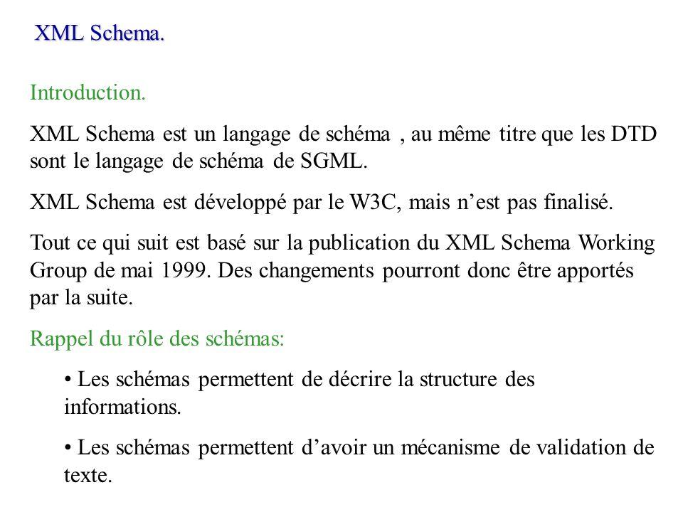 XML Schema. Introduction. XML Schema est un langage de schéma, au même titre que les DTD sont le langage de schéma de SGML. XML Schema est développé p