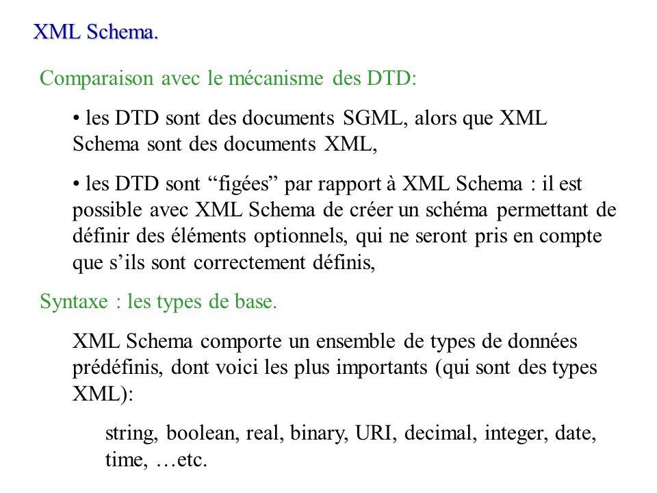 XML Schema. Comparaison avec le mécanisme des DTD: les DTD sont des documents SGML, alors que XML Schema sont des documents XML, les DTD sont figées p