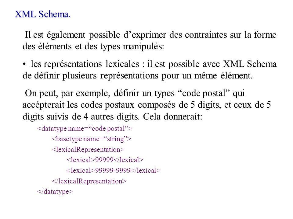 Il est également possible dexprimer des contraintes sur la forme des éléments et des types manipulés: les représentations lexicales : il est possible