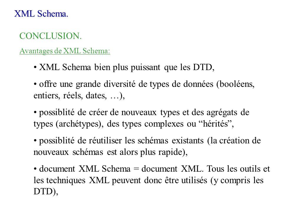 XML Schema. CONCLUSION. Avantages de XML Schema: XML Schema bien plus puissant que les DTD, offre une grande diversité de types de données (booléens,