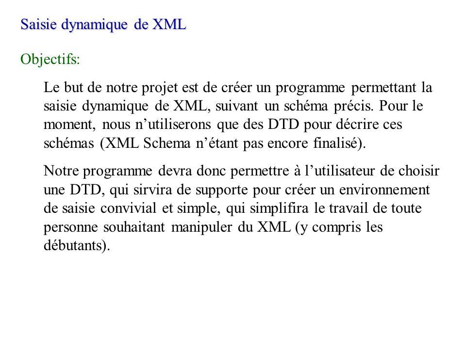 Saisie dynamique de XML Objectifs: Le but de notre projet est de créer un programme permettant la saisie dynamique de XML, suivant un schéma précis. P