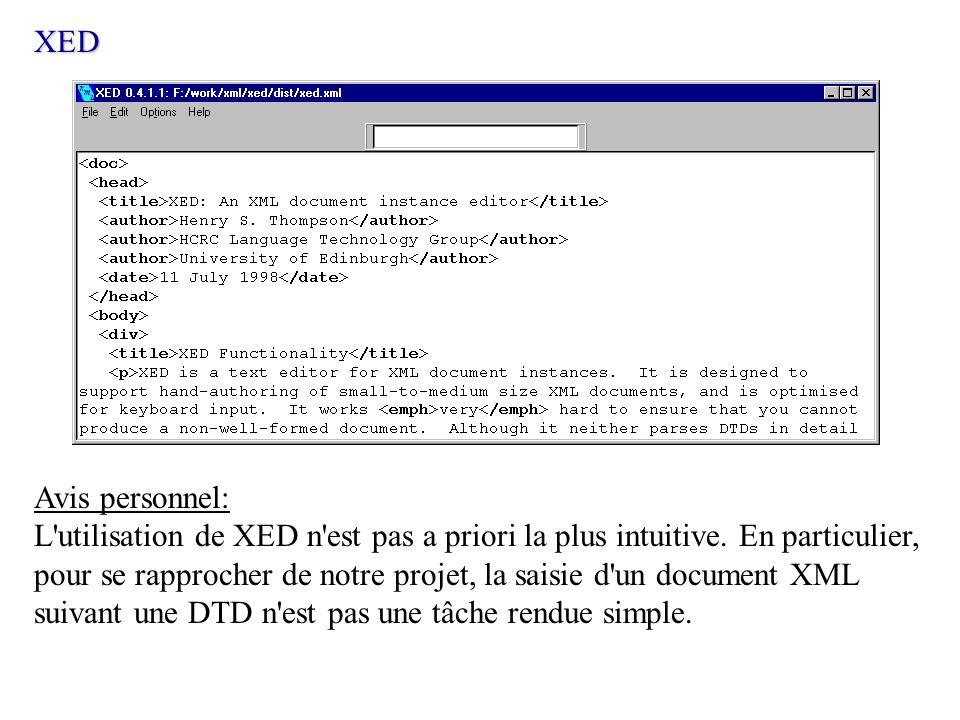 Avis personnel: L'utilisation de XED n'est pas a priori la plus intuitive. En particulier, pour se rapprocher de notre projet, la saisie d'un document
