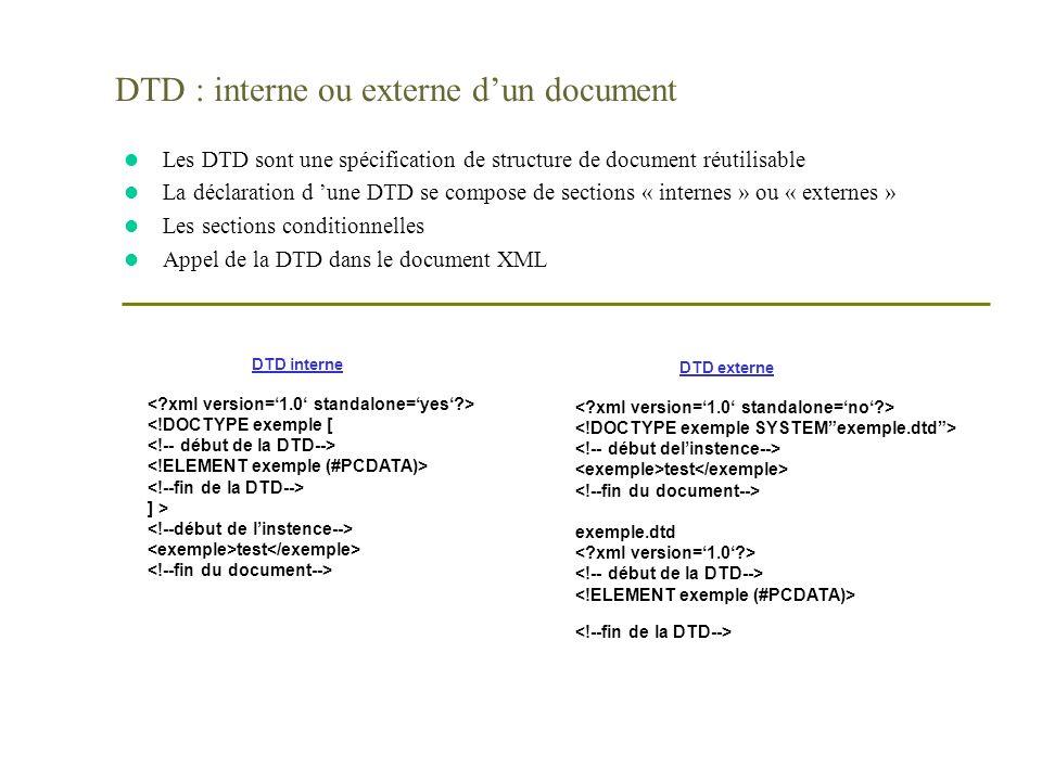 DTD : interne ou externe dun document l Les DTD sont une spécification de structure de document réutilisable l La déclaration d une DTD se compose de