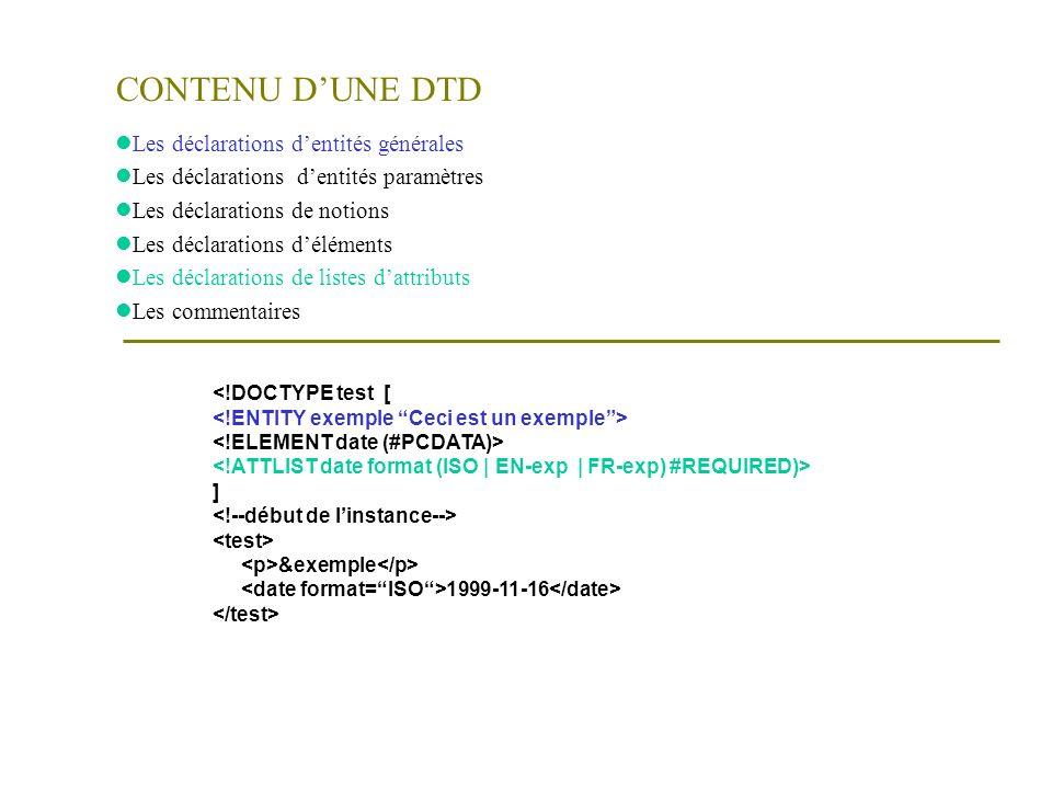 Structure et hiérarchie des éléments (structure arbre) (I) Fihier mon_rapport.xml Test …………………