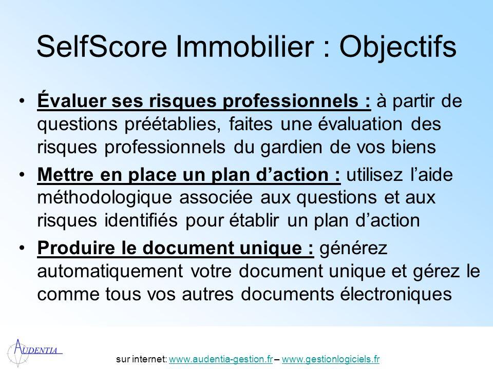 http://www.accompagnement-info.com/ SelfScore Immobilier : Objectifs Évaluer ses risques professionnels : à partir de questions préétablies, faites un
