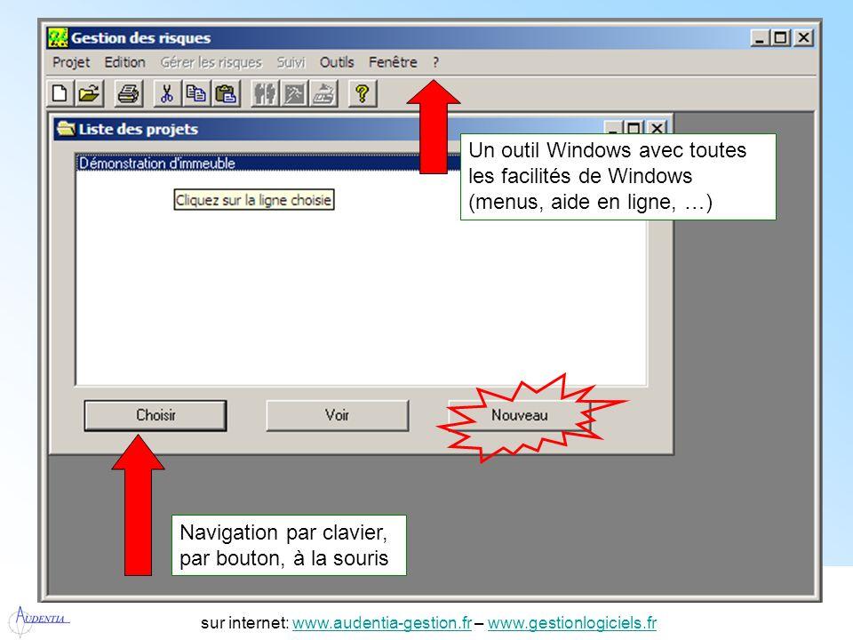 http://www.accompagnement-info.com/ sur internet: www.audentia-gestion.fr – www.gestionlogiciels.frwww.audentia-gestion.frwww.gestionlogiciels.fr Les réponses qui génèrent un risque sont affichées, double-click permet daccéder à laide méthodologique