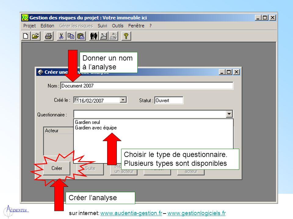 http://www.accompagnement-info.com/ sur internet: www.audentia-gestion.fr – www.gestionlogiciels.frwww.audentia-gestion.frwww.gestionlogiciels.fr Saisir les participants à lanalyse