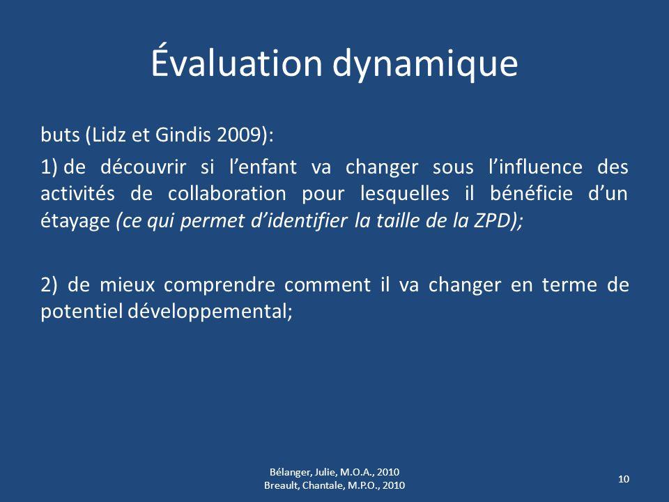 Évaluation dynamique buts (Lidz et Gindis 2009): 1) de découvrir si lenfant va changer sous linfluence des activités de collaboration pour lesquelles